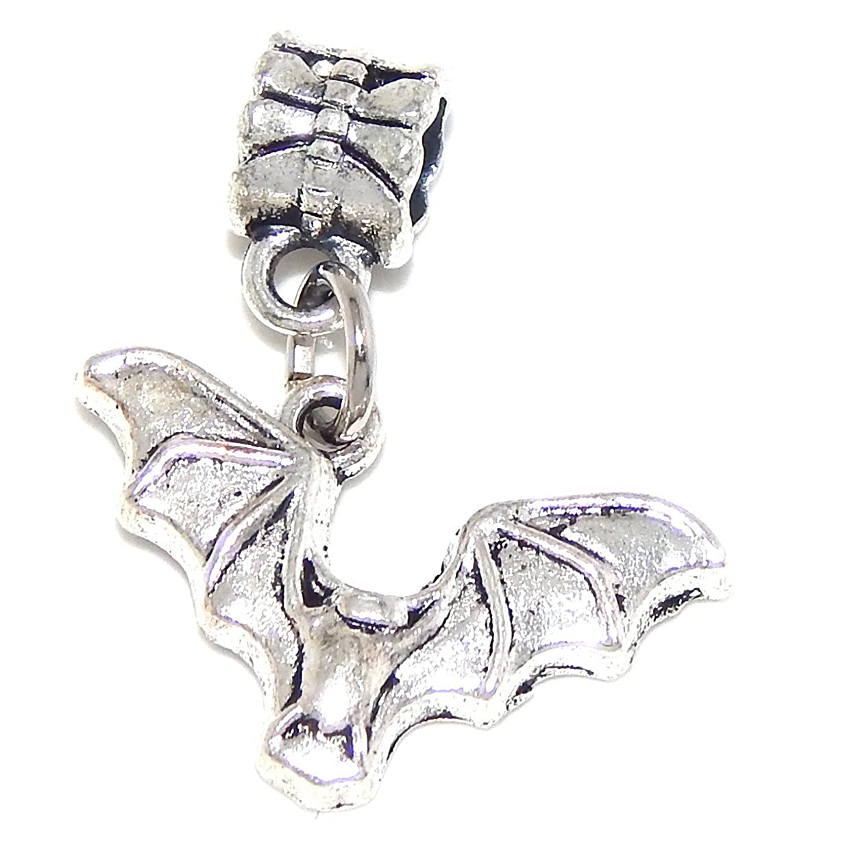 Silver Plated Dangling Bat with Open Wings Bead Charm Bella Gioielli