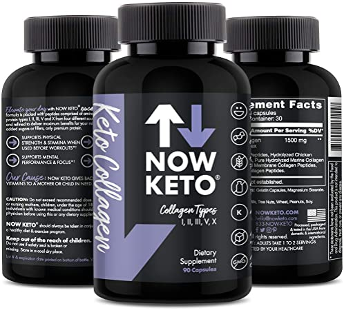 NOW KETO Multi Collagen Pills (Types I, II, III, V & X) - Collagen Peptides Keto Friendly - Grass Fed Collagen Protein Blend for Anti-Aging, Hair, Skin, Nails and Joints (90 Collagen Capsules)