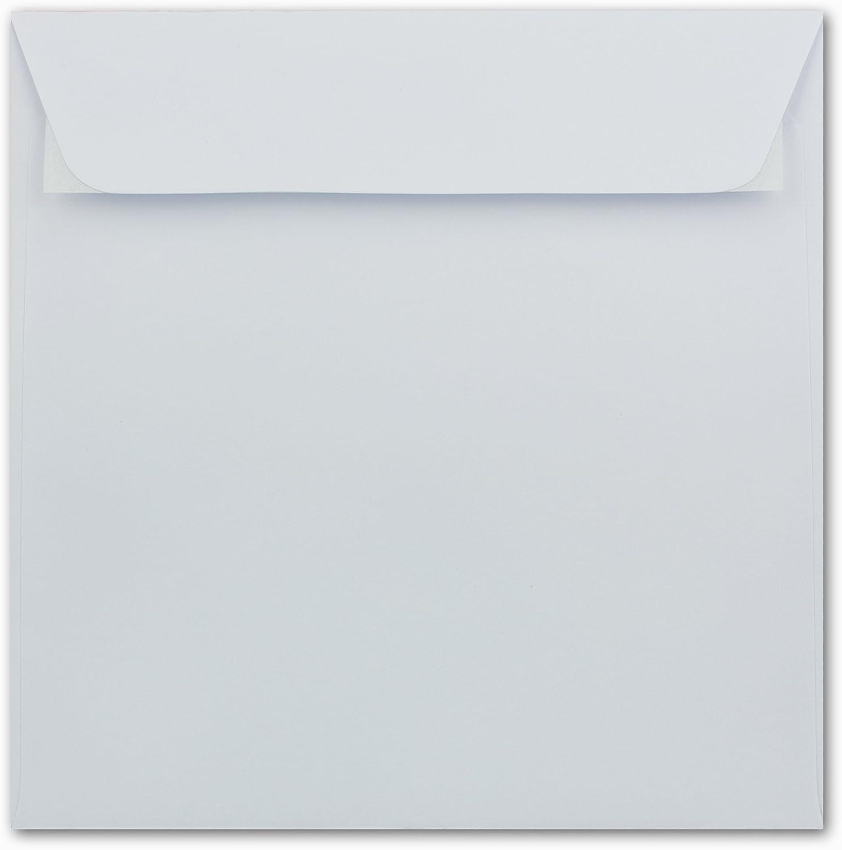 Serie FarbenFroh/® Nassklebung 15 x 15 cm 100 St/ück F/ür Hochzeits-Karten Einladungskarten und mehr Quadratische Brief-Umschl/äge ohne Fenster in Transparent Wei/ß
