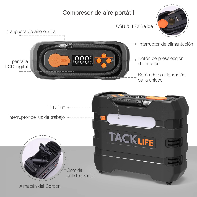 TACKLIFE ACP1B Compresor Aire Coche, Inflador Digital 150PSI, Compresor de Aire 12V, Bomba Electrico con Manómetro, Pantalla LCD, 3 Modos de luz LED, ...