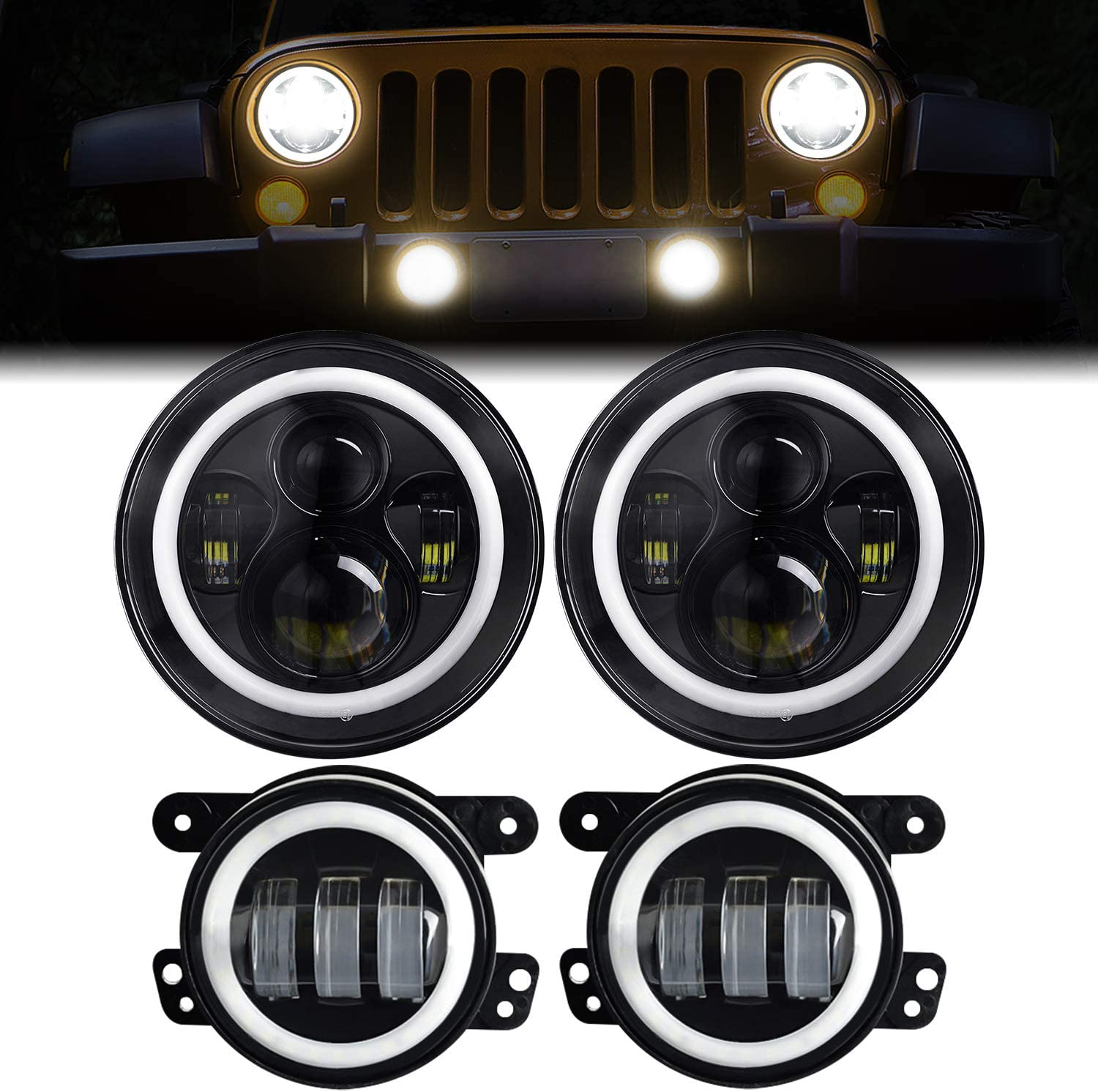 7 Inch 80W CREE LED Headlights with Side and Turn Signal Combo 07-17 Jeep JK