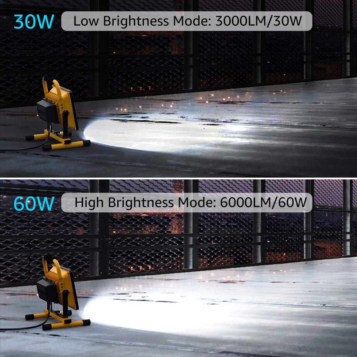 Olafus 60W LED Baustrahler 6000LM IP65 Wasserdicht LED Arbeitsleuchte Bauscheinwerfer mit EU-Stecker Baustelle 5000K Tageslichtwei/ß Garage Arbeitsscheinwerfer Strahler Fluter f/ür Werkst/ätte