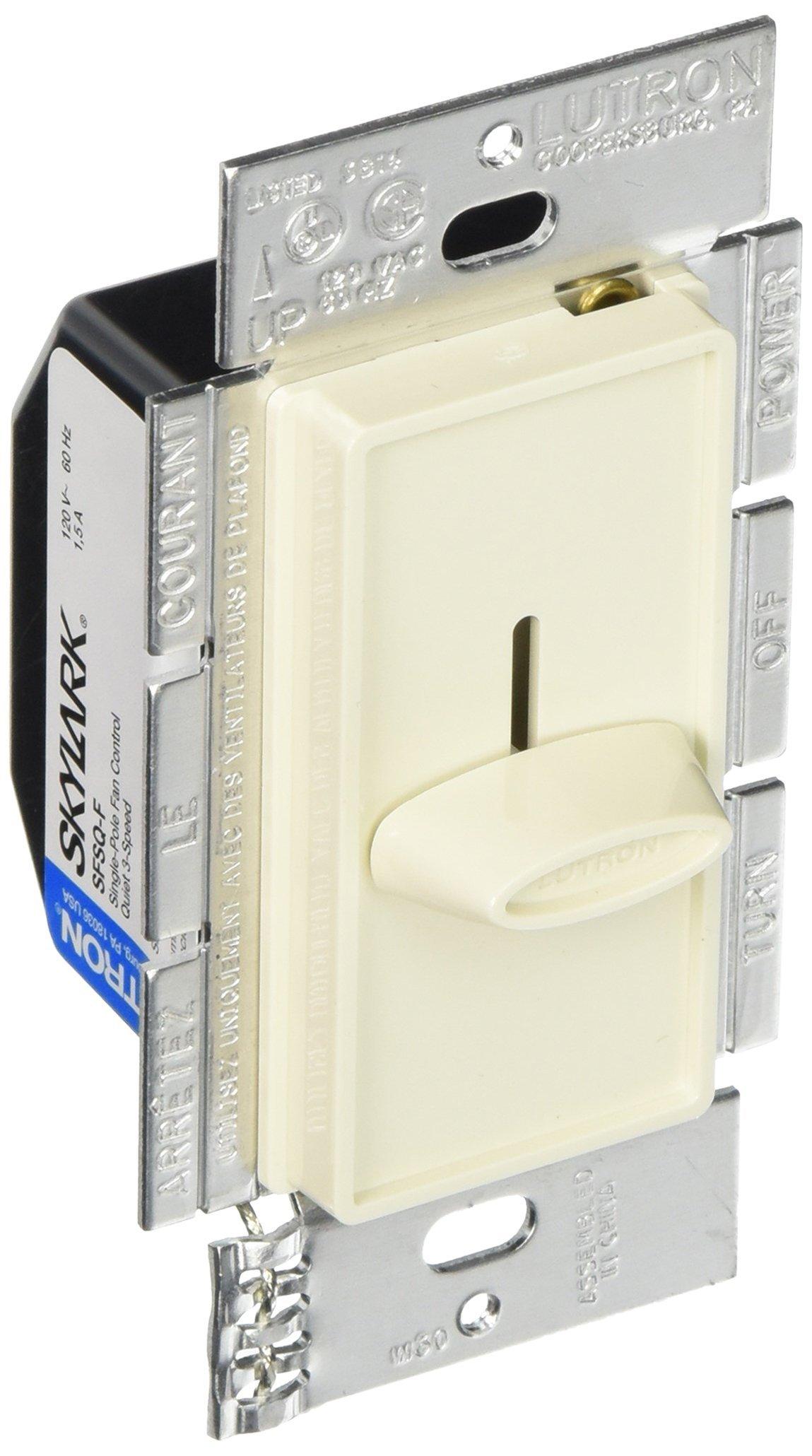 Lutron Electronics SFSQ-FH-LA Single Pole Slide-to-Off Quiet 3-Speed Fan Control, 1.5-Amp, Light Almond