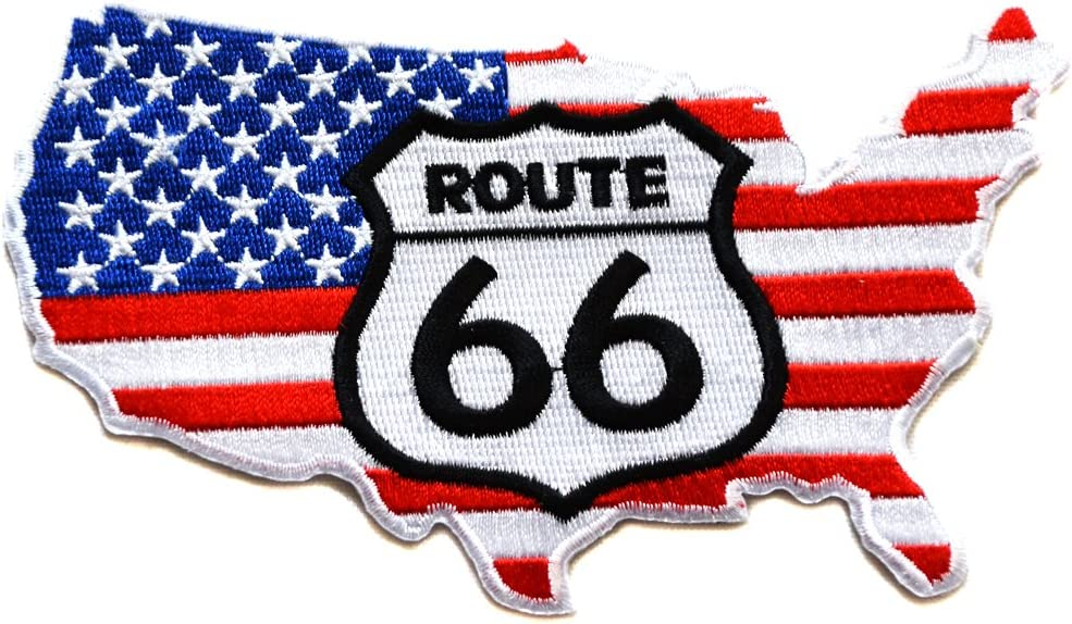 ecusson route 66 biker motard moto usa us thermocollant grand format 25x23cm patche badge