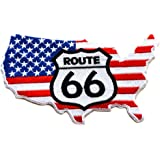 ecusson route 66 drapeau carte usa us thermocollant 12x7 cm patche badge biker moto