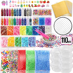Holicolor 110pcs Slime Add Ins Slime Making Supplies Kit Include Foam Balls, Fishbowl Beads, Glitter Sequins Accessories, Shells, Candy Slime Charms, Slime Containers for Slime Party
