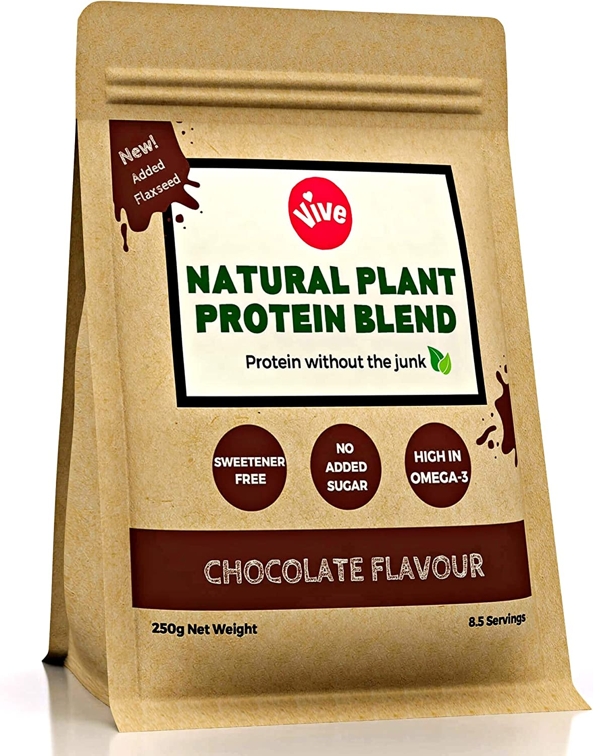 Vive Vegan Protein Powder Blend, Chocolate Flavour | Sweetener-Free Rice & Pea Protein (250g)