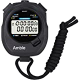 Amble Countdown Timer and Stopwatch Record 10 Memories Lap Split Time with Metronome and Calendar Clock with Alarm for Sports Coaches and Referees