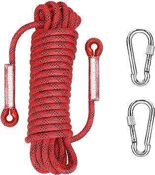 welltop Cuerda de Seguridad Cuerda de Escalada 32 pies, 10 mm Cuerda de Escape de Emergencia contra Incendios domésticos 15 KN Resistencia a la ...