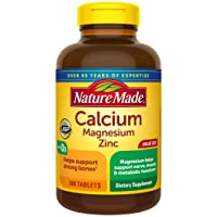 Nature Made Calcium, Magnesium Oxide, Zinc with Vitamin D3 Tablets, 300 Count for Bone Health