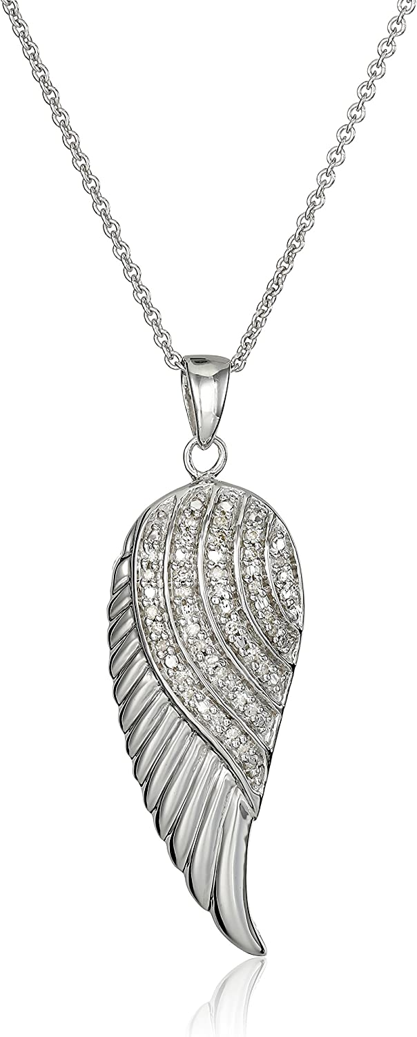 Jewelili Sterling Silver with 1//10 CTTW Diamond Angel Wing Pendant Necklace 18 Rolo Chain