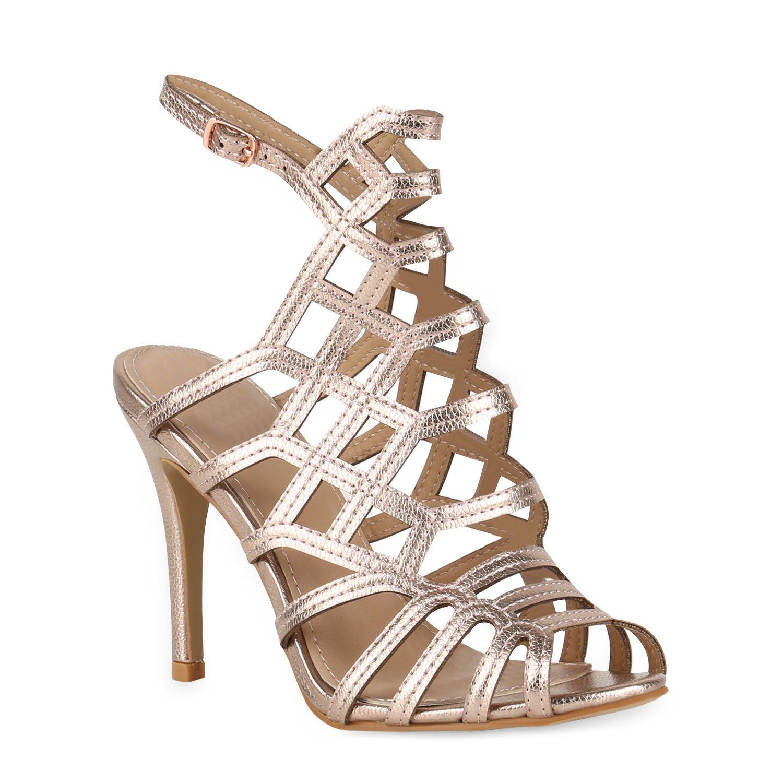 Stiefelparadies Damen Sandaletten High Heels mit Pfennigabsatz Strass Nieten Flandell Rose Gold Riemchen Schnalle