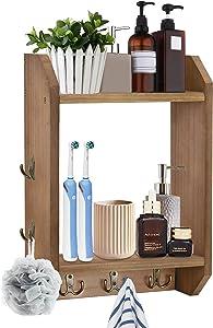 Bathroom Towel Rack for Wall Mount, 2-Tier Towel Rack Ladder for Bathroom, Wood Hanging Bathroom Towel Holder with Towel Hooks, Farmhouse Bathroom Towel Rack Holder for Bathroom, Kitchen