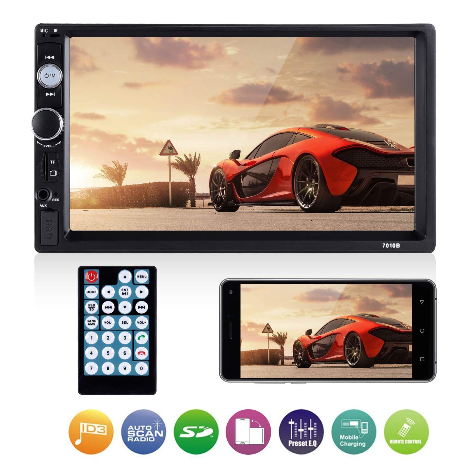 Universal Double Din Car Stereo, ESSGOO Mirror Link 7Inch Capacitive Touch Screen in Dash Car Radio Receiver Audio Video Player Supports USB/FM/TF/BT/AUX/MP5 Multimedia with Remote Control