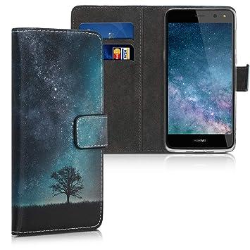 kwmobile Funda para Huawei Y6 (2017) - Carcasa de [Cuero sintético] con diseño de árbol y Estrellas - Case con [Tarjetero]