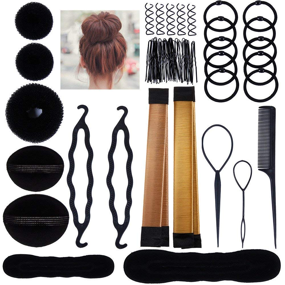 Hair Styling Bun Maker Accessories Set, Accessory for Styling Hair Band Fashion DIY Fast Bun French Braids Ponytails Maker Hair Elastics Modelling Braiding Tool Kit by DELOVE (Image #1)
