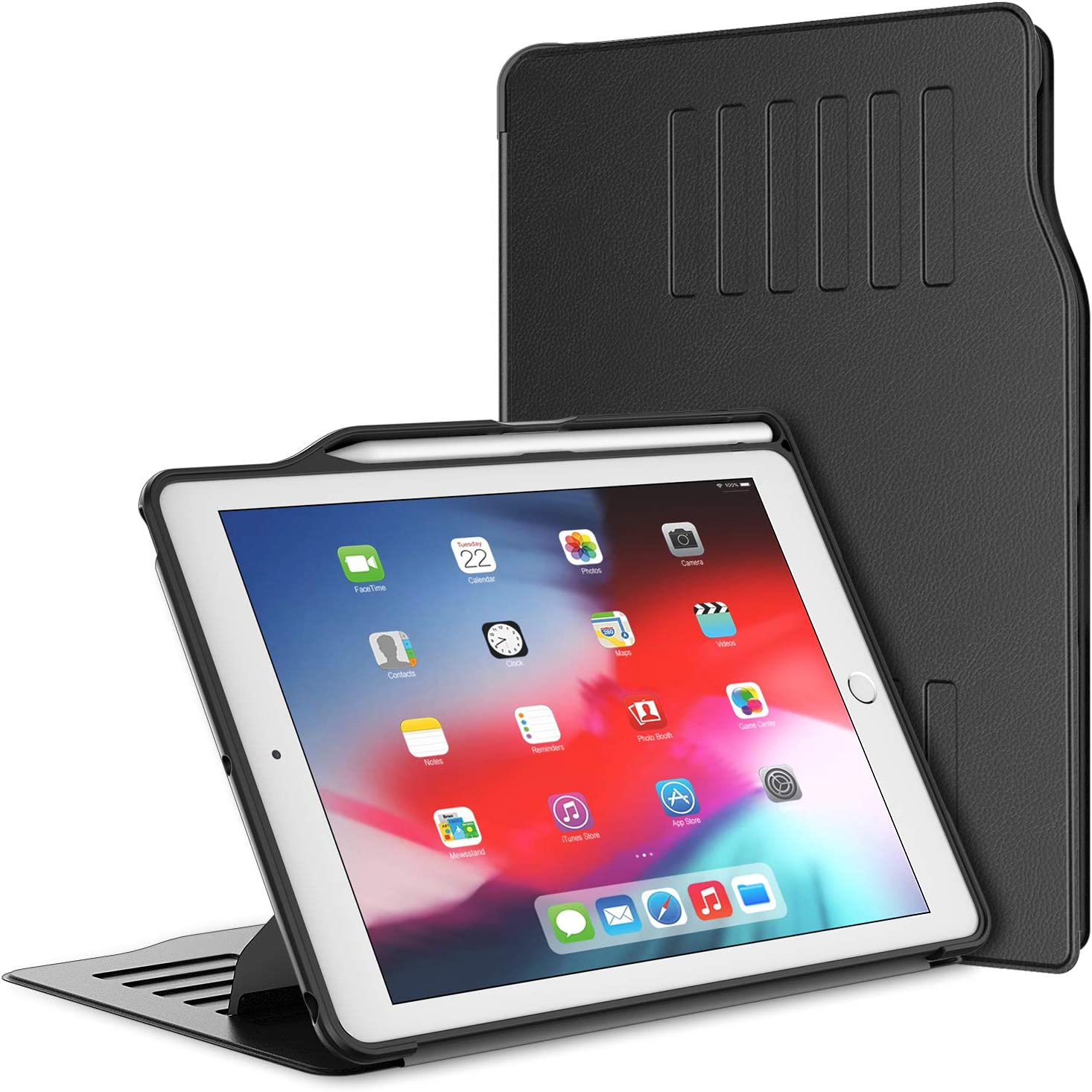 JETech Case for iPad 9.7-Inch (2018/2017 Model, 6th/5th Generation) with Pencil Holder, Highly Protective, Shock Absorption, Multiple Angles, Black