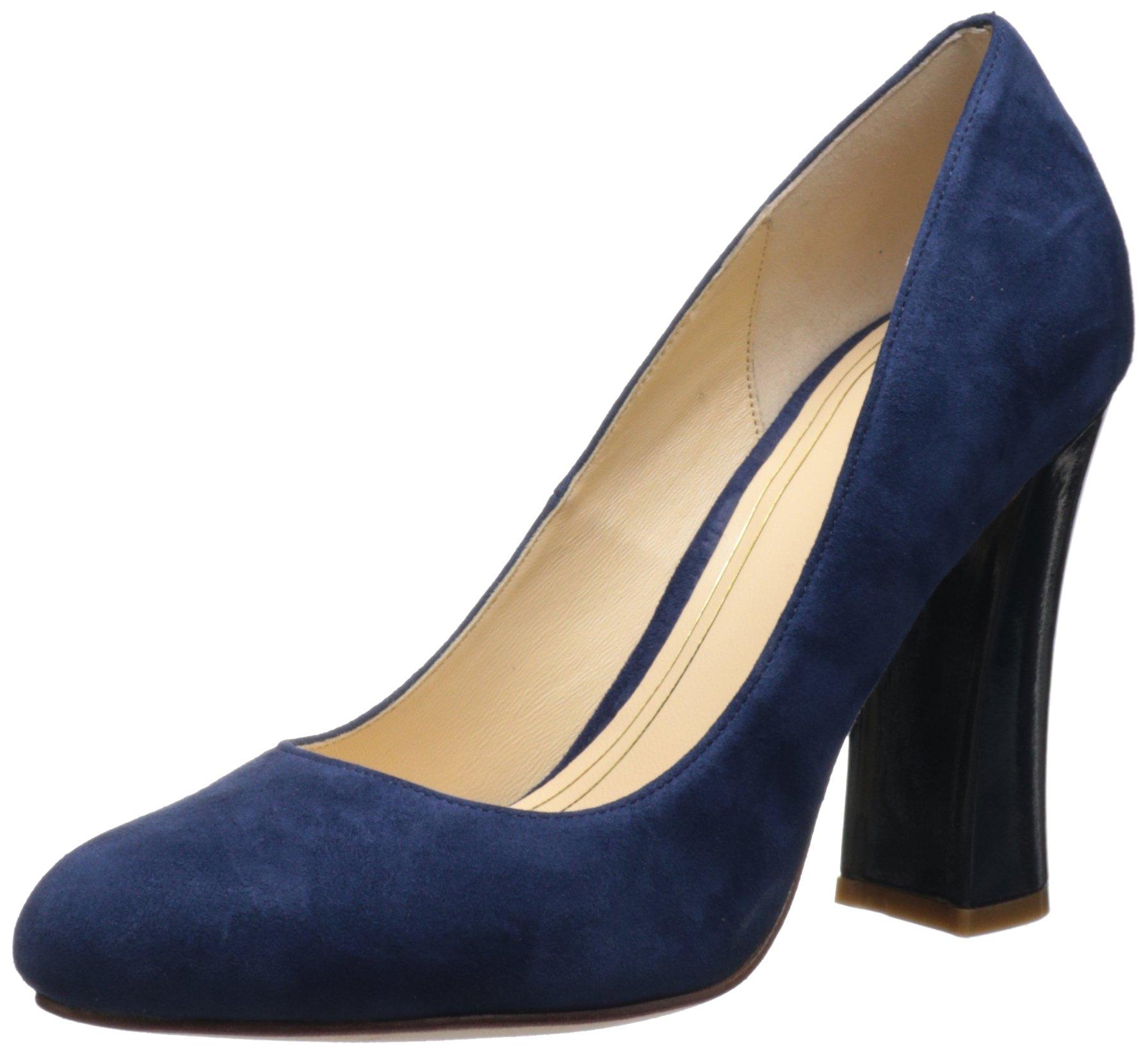 Cole Haan Women's Chelsea High Flared Heel Pump,Blazer Blue Suede Patent,8.5 B US