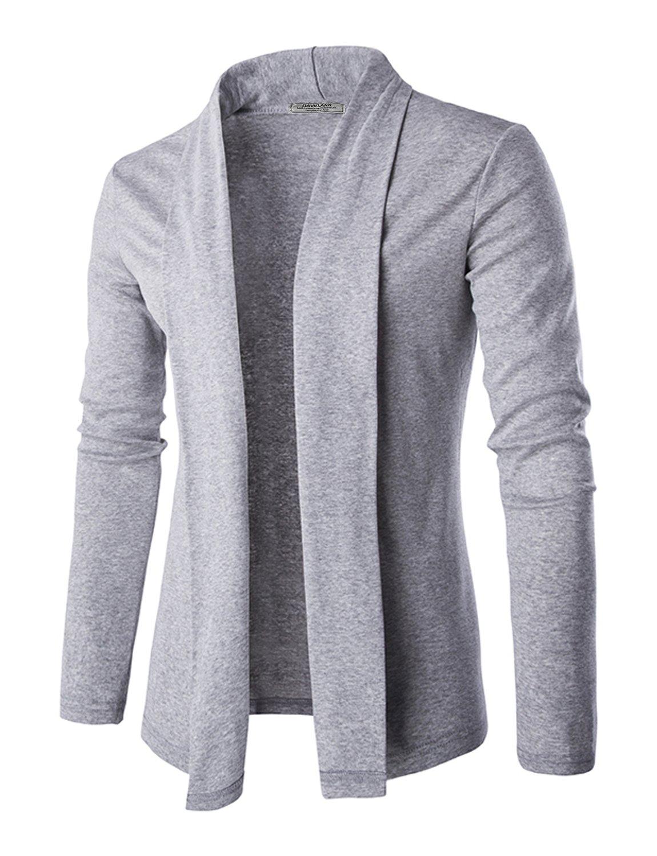 DAVID.ANN Men's Long Sleeve Draped Open Front Shawl Collar Longline Cardigan,Grey,Small