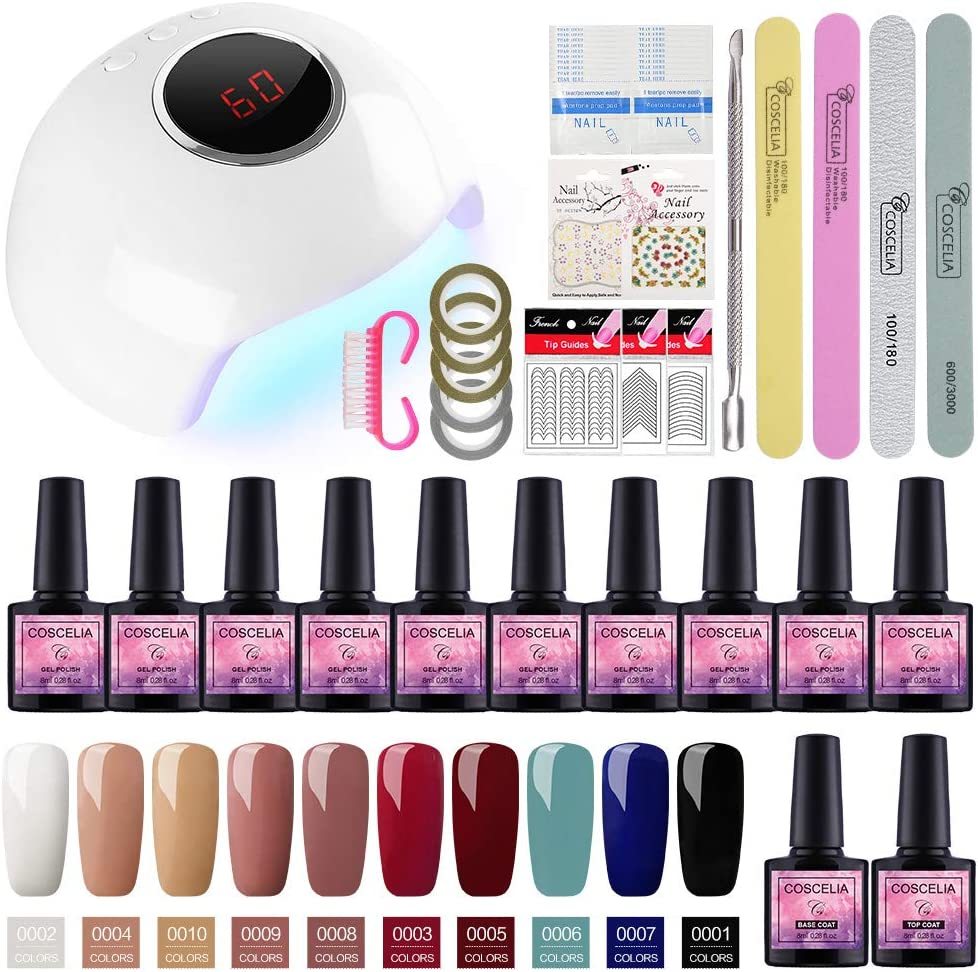 Saint-Acior Kit Uñas de Esmalte Semipermanente Gel 10 Colores 8ml 24W UV/LED Lámpara Secador Uñas en Gel Top coat Base Coat Manicura Kit