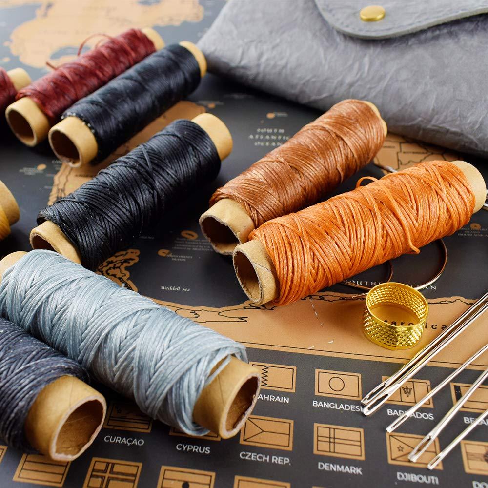 21 pezzi 300 Metri 10 Filo Cerato pellami con Strumenti per Piccoli Lavori o Riparazioni di Pelletteria Kit Filo Cerato ed Aghi