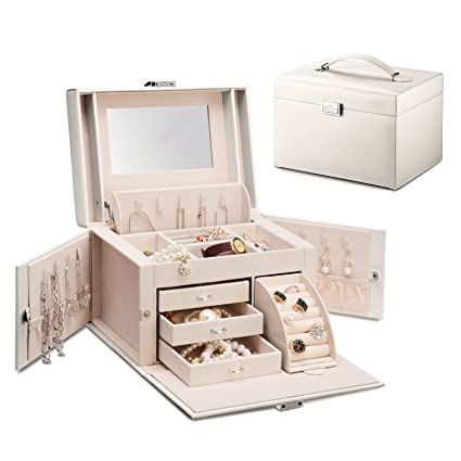 Vlando Mirrored Wooden Jewelry Box Organizers For Girls Women   Necklaces  Earrings Rings Watches Storage Case