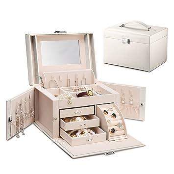 Amazoncom Vlando Mirrored Wooden Jewelry Box Organizers for Girls