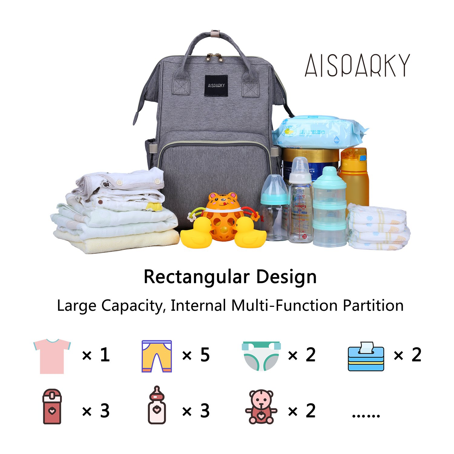 AISPARKY Diaper Bag Backpack Multi-Function Waterproof Travel Nappy Bag for Baby Care, Large Capacity, Durable and Stylish Changing Bag for Mom and Dad, Black by AISPARKY (Image #7)