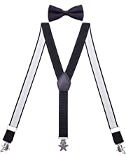 WDSKY Kids Suspenders and Bow Tie Set Star Clips for Wedding