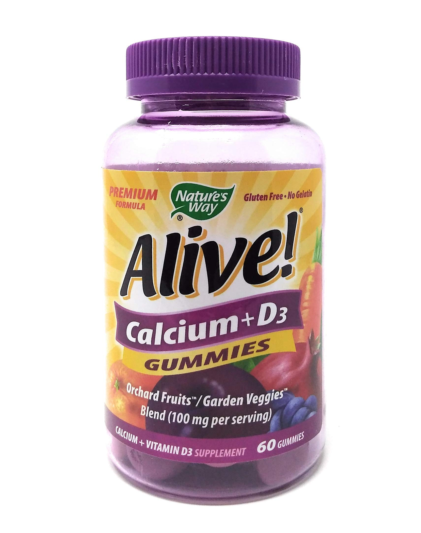 Natures Way Alive! Calcium + D3 Gummies 60 Gummies