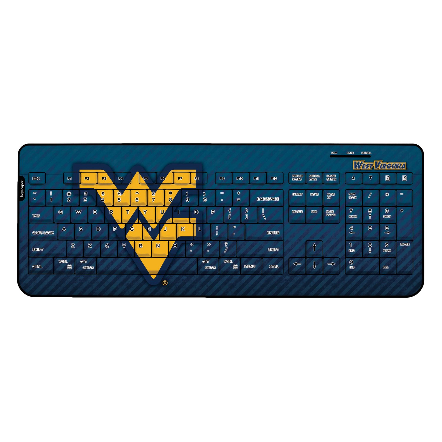 West Virginia Mountaineers Keyscaper Wired Keyboard Licensed by the NCAA by Keyscaper