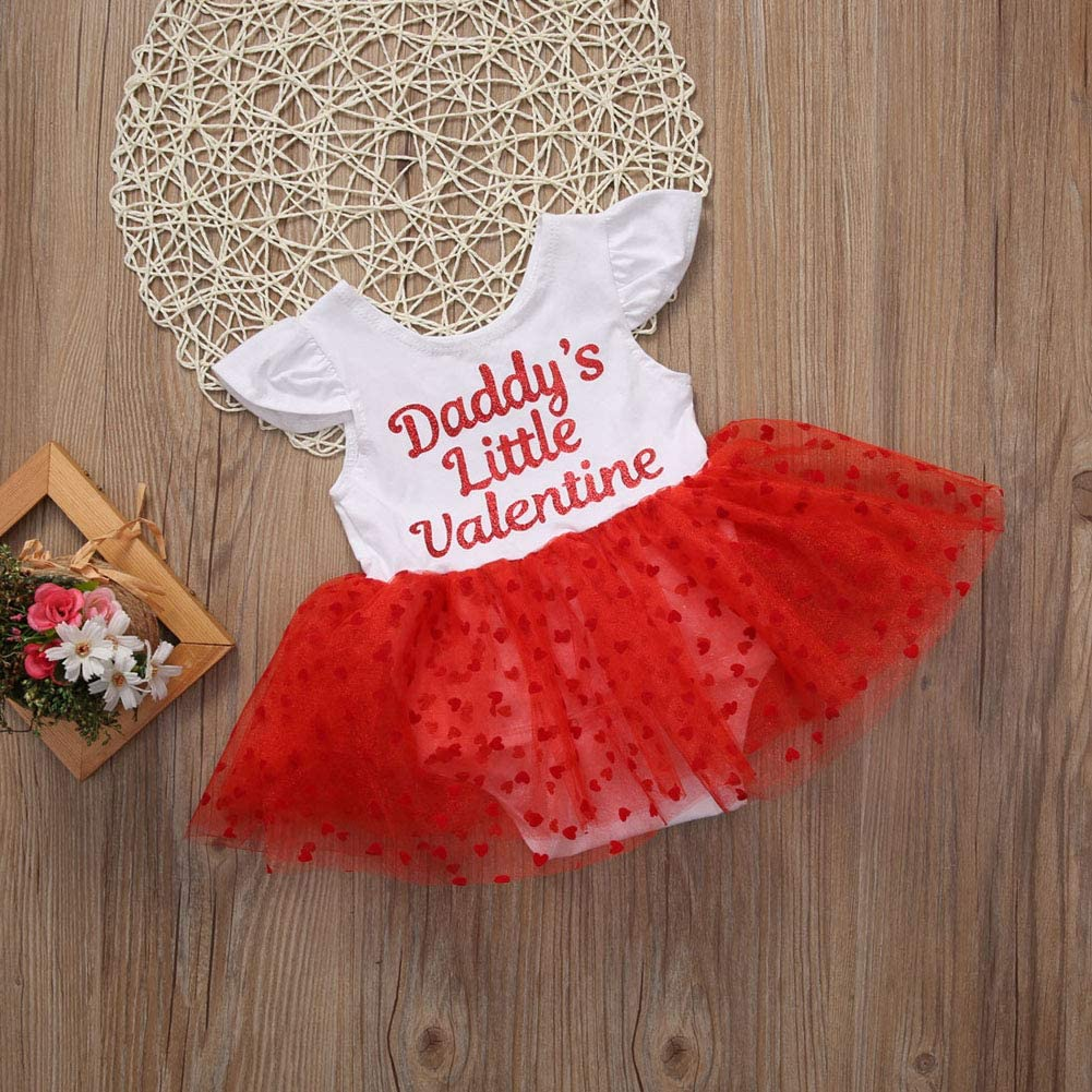 Bowanadacles Baby Girls Valentine/'s Day Dress Ruffle Sleeve Daddy/'s Little Valentine Bodysuit Tutu Outfit