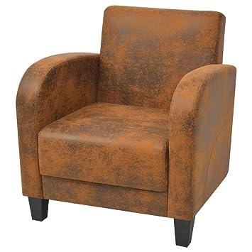 VidaXL Sessel Relaxsessel Wohnzimmer Couch Sofa Lounge Braun Retro 73x72x76 Cm
