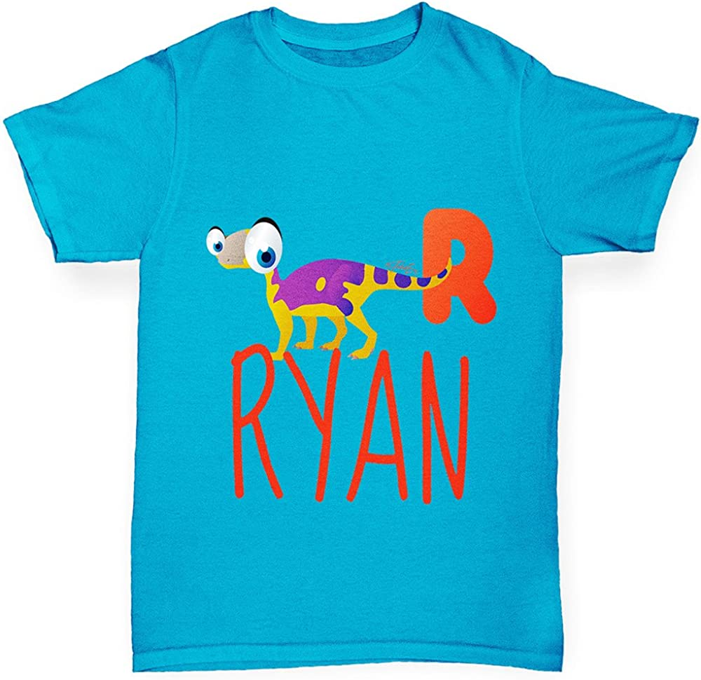 TWISTED ENVY Boys Personalised Dinosaur Letter R Cotton T-Shirt Comfortable and Soft Classic Tee with Unique Design Age 5-6 Azure Blue
