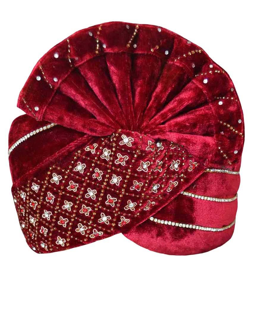 INMONARCH Mens Designer Velvet Turban pagari safa Groom hats TU1058 22-inch Maroon by INMONARCH