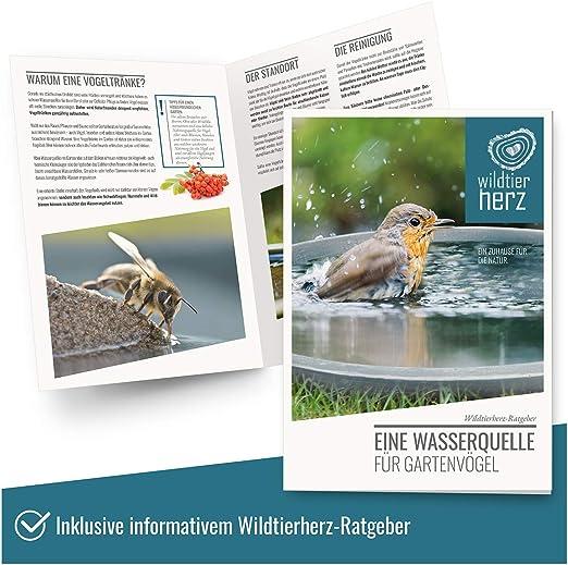 wildtier herz Coeur danimal Sauvage r/ésistant au Gel et aux intemp/éries Bain pour Oiseaux Sauvages /Ø 28 cm pour Le Jardin Nouveau Bain doiseaux