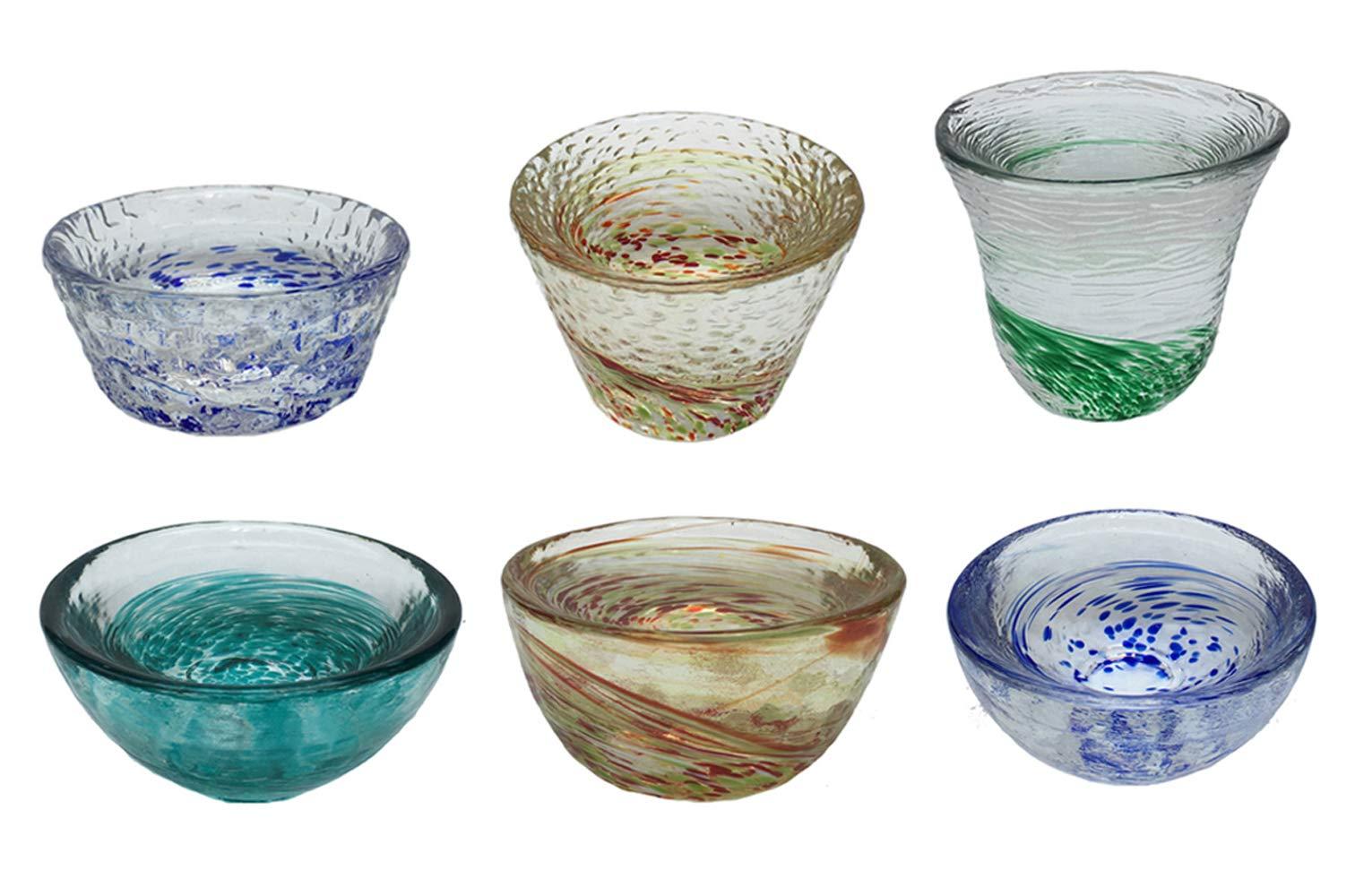 KCHAIN Pack of 6 Cold Sake Cups Set 2oz/60mL Drinkware Glasses Handcraft Rainbow Color Decor Thick Glass Teacups Perfect for Sake Wine Liquor Tea
