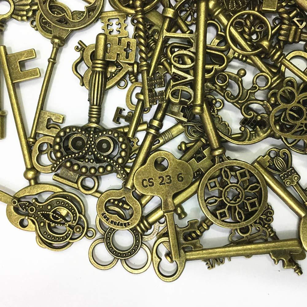 Ogquaton Paquete mixto de 40 llaves vintage llaves antiguas de bronce engastadas para la creaci/ón de joyas de bricolaje