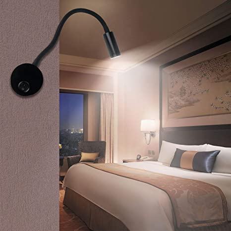 LED Wall Lamp, Lanfu Flexible Wall Mounted Sconce Lighting, Wall Bracket  Night Reading Light with Switch and Plug in Cord for Bedroom Living Room or  ...