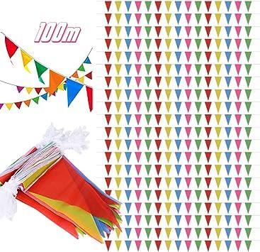 SERWOO 100m/200pcs Guirnaldas Banderines Banderas Tela Colores ...