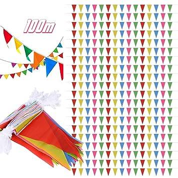 SERWOO 100m/200pcs Guirnaldas Banderines Banderas Tela Colores Triángulo Bunting para Cuerda de Advertencia, Fiesta, Cumpleaños, Bar, Boda, Navidad, ...