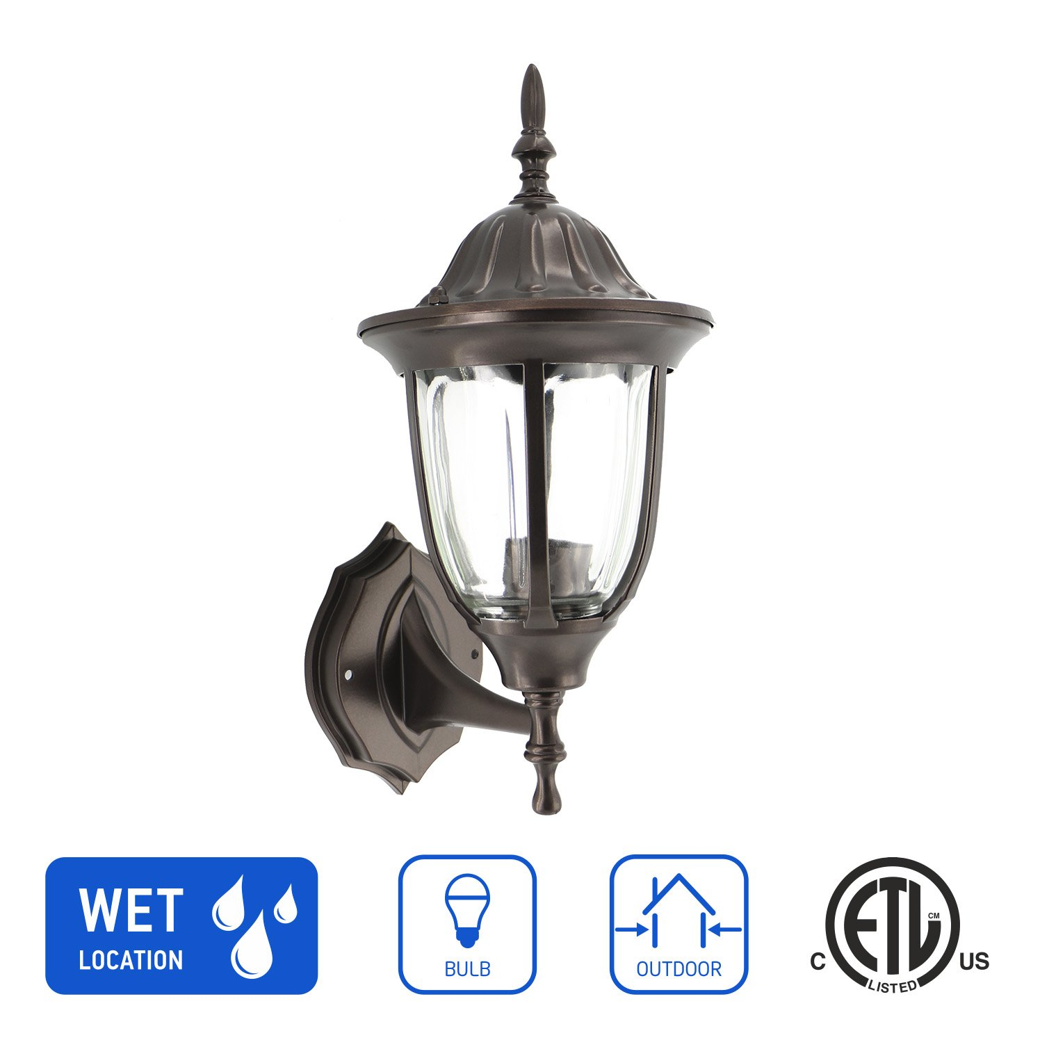 IN HOME 1-Light Outdoor Exterior Wall Up Lantern, Traditional Porch Patio Lighting Fixture L03 with One E26 Base, Water-Proof, Bronze Cast Aluminum Housing, Clear Glass Panels, ETL Listed