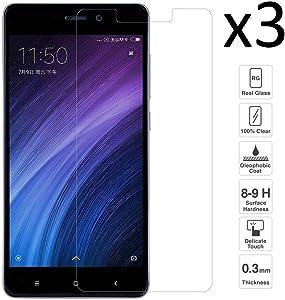 iGlobalmarket [3 Unidades Protector de Pantalla Xiaomi Redmi 4A, Cristal Templado Xiaomi Redmi 4A, Alta Definicion, 9H Dureza, Resistente a Arañazos
