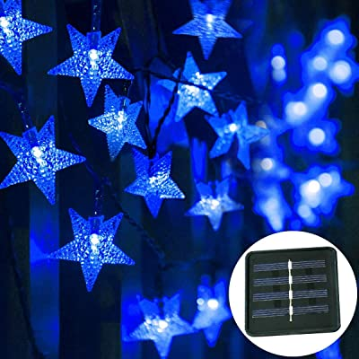 Multicolor Solar Star String Lights Outdoor, 40FT 100LED Solar Power Fairy Star Twinkle Lights, Lights for Christmas, Party, Outdoor, Wedding, Garden Decoration (Blue) : Garden & Outdoor