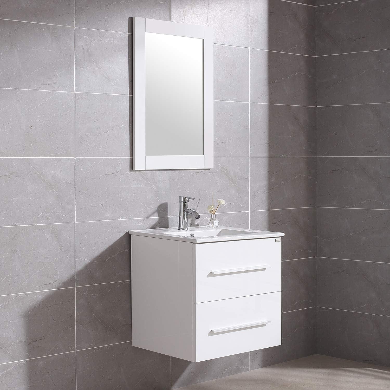 Amazon Com Walnest 24 White Bathroom Vanity And Sink Set Wall