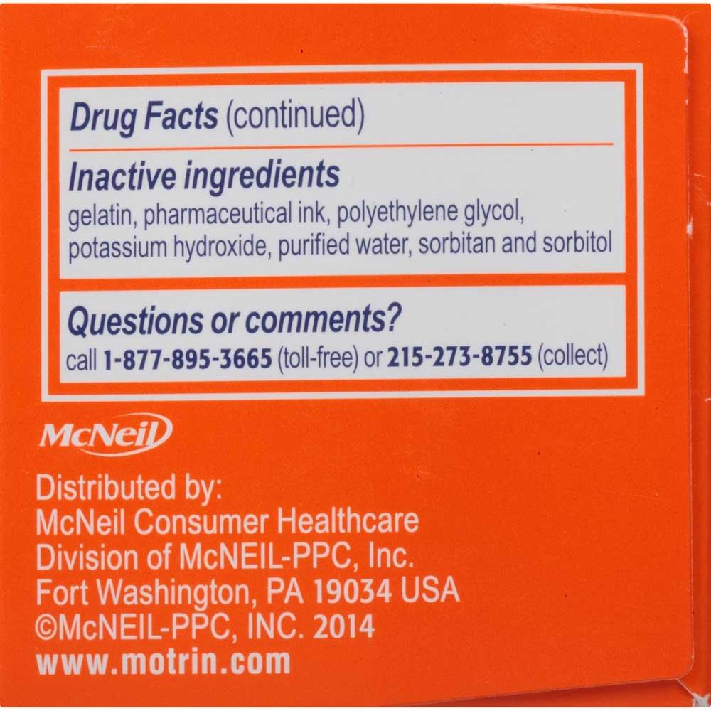 Motrin IB Liquid Gels Ibuprofen Pain Reliever Fever Reducer Capsules 80 ct Box -- 24 per case.