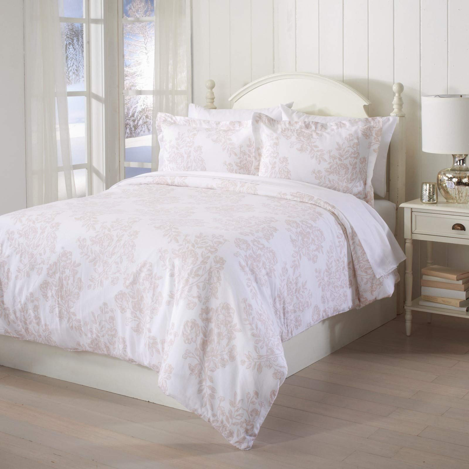 Great Bay Home Extra Soft Printed Flannel Duvet Cover with Button Closure. 100% Turkish Cotton 3-Piece Set with Pillow Shams. Belle Collection (Full/Queen, Toile - Blush Pink)
