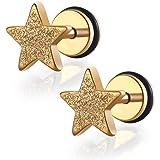 FORESTEEL Bijoux Paire De acier inoxydable brossé étoile Totalement faux plug Boucles d'oreilles Avec O-Ring