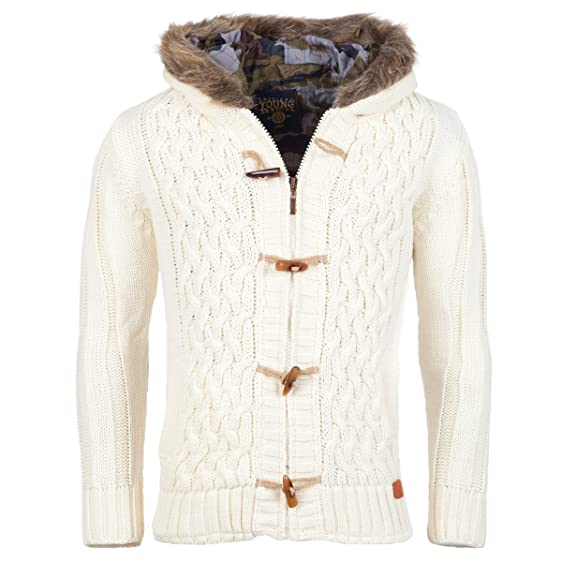 Young & Rich Cardigan Norwegian jumper Jacket Men's Chunky Knit ...