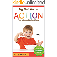 Action Words Flashcards: Beautiful illustrated book of everyday life action verbs, labelled with words, an encyclopedia picture books for toddlers to encourage their speech and language development